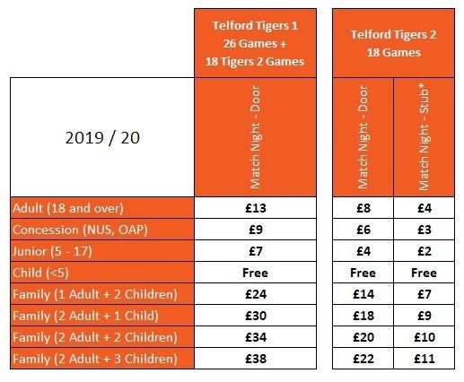 19-20 Match Night Ticket Prices